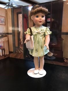 """light green floral, 18"""" doll clothes, doll dress, American Girl doll clothes, burlap handbag, white shoes, 5 piece outfit by MorgansCloset16 on Etsy"""