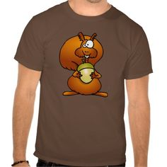 A funny squirrel with acorn in an autumn forest. #Tshirt #Zazzle #Cardvibes #Tekenaartje #Squirrel #Acorn #Autumn
