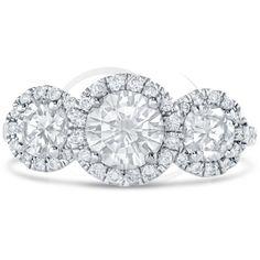 Antique three stone diamond engagement ring with halos at nina elle jewels Antique Diamond Rings, 3 Stone Rings, Diamond Engagement Rings, Halo, Wedding Bands, Fine Jewelry, Jewels, Antiques, Antiquities