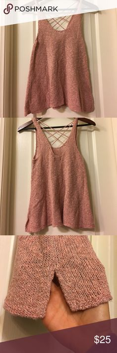 AEO sweater tank American Eagle sweater tank, size small, NWOT. In perfect condition and a perfect spring/summer top! Slightly cropped in length, side slits, and great crosses back detail. Works with jean shorts, or dresses up a bit when layered. Light and soft! American Eagle Outfitters Tops Tank Tops