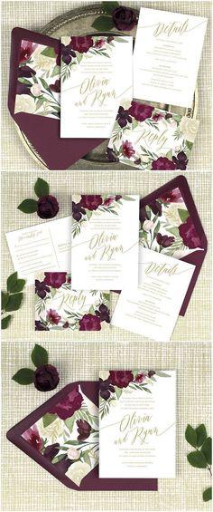 burgundy and gold wedding invitations, burgundy floral wedding invitations, marsala wedding invitation, winter wedding, printed invitations