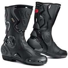 The Gore Boot also features a fixed shin plate and replaceable scuff pad. The boot upper is made in full grain leather and lined with a Gore-Tex membrane. Technical information for the Sidi Gore-Tex Boots. Bike Boots, Mens Motorcycle Boots, Riding Boots, Bikes Direct, Gore Tex Boots, Unique Boots, Cheap Boots, Boots For Sale, Waterproof Boots