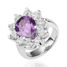 Plated White Gold Ring Sunflower Waterdrop Jewel Purple Zirconia Ring
