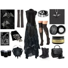 Dark Woods Witch by maggiehemlock on Polyvore featuring Rick Owens, Izabel London, West Coast Jewelry, SELECTED and Sephora Collection