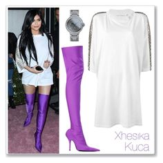 """""""Kylie Jenner Embellished Tee Dress, Purple Boots"""" by xhesikakuca ❤ liked on Polyvore"""