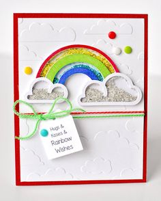Hugs & Kisses & Rainbow Wishes - Intimidated by the idea of making your own shaker cards? Grab Queen and Co Shaker pieces!