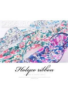 """Garden Flower Patterns Wired Ribbon with Hemmed Edges / 4""""(100mm) / 4Color / Wired Ribbon / made in Korea by HOLYCO on Etsy"""