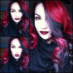 Crimson red with black bangs