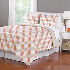 King Orange Tan Brown Comforter Set Printed Floral Pattern Stylish Luxury Bedding Modern Master Bedrooms Fancy Colors Bright Orange White