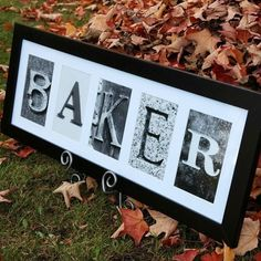 Make the bride's soon-to-be new name in a frame! Cute!