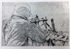 Soldado alemán en la Segunda Guerra Mundial manejando una MG42