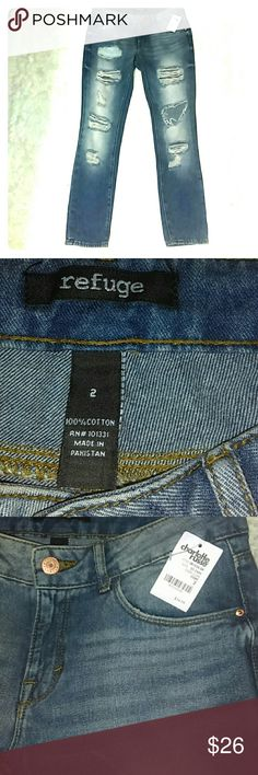 Refuge skinny distressed jeans Refuge jeans from Charlotte Russe. Size 2. 100% cotton. Skinny distressed denim! New with tags! I should've grabbed a size bigger, too tight for my liking & store is over an hour away. So my loss ur gain! Super cute! Look good rolled also! Charlotte Russe Jeans