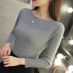 Pullover slim – sportNchic Long Sleeve Sweater, Long Sleeve Shirts, Collars For Women, Style Casual, Korean Women, Autumn Winter Fashion, Fall Winter, Pulls, Types Of Sleeves