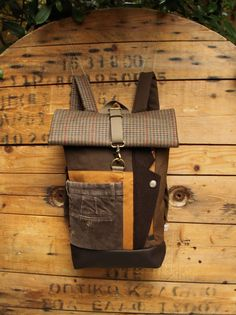 Green brown upcycled roll top rucksack using lapel from men's suit & the back part from a corduroy men's trousers+zipper for easy access, by 'eating the goober' Wool Suit, Back Strap, Green And Brown, My Bags, Easy Access, Vegan Leather, Corduroy, Upcycle, Trousers