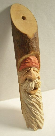 Spirit Of Christmas Hand Carved Red Hat St. Nick Ornament-key Chain