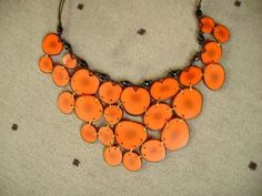 collier fimo plastron pastilles orange by la sagrada, via Flickr