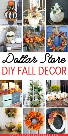 35 Stunning Dollar Store DIY Fall Decor Ideas - This Tiny Blue House - - Looking to decorate your home for fall on a budget? Here are DIY fall decor ideas that you can put together with basic items from the dollar store. Dollar Tree Fall, Dollar Tree Crafts, Fall Crafts, Decor Crafts, Diy Fall Wreath, Budget, Fall Home Decor, Autumn Theme, Halloween
