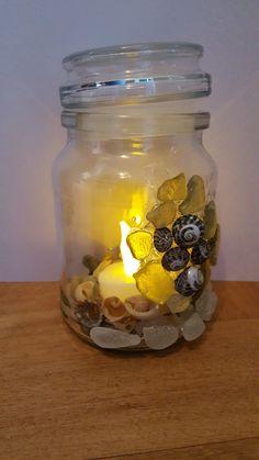 Sea glass jar with LED candle,