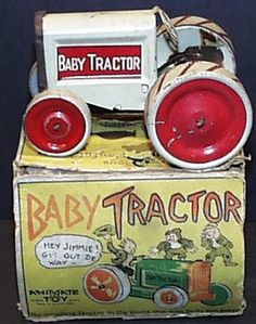 Vintage 1916 Tin Wind-up BABY TRACTOR in Original Box by Animate Toy