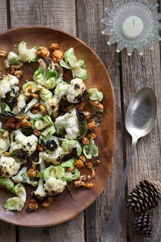Grilled Cauliflower and Brussels Sprout Salad with Crushed Nuts