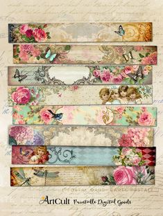 8 printable romantic art strips 3 multipurpose victorian style images for scrapbooking bookmarks Tissu Style Shabby Chic, Shabby Chic Decor, Arts And Crafts Projects, Diy And Crafts, Paper Crafts, Easy Crafts, Decoupage Vintage, Vintage Paper, Decoupage Glue
