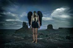 dark angel in Monument Valley desert