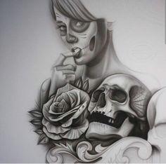 Chicano Arte Archangel Michael Tattoo, Art Chicano, Skull Reference, Day Of The Dead Skull, Grey Art, Sugar Skulls, Skull Art, Flower Tattoos, Tatting