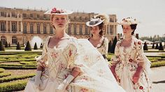 Billow-y dress in gardens with her ladies, shortly after arriving at Versailles. Fully aware of all the negative gossip about her and ill will towards her for being Austrian.