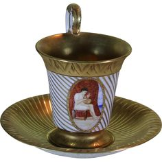 Collectors Cup & Saucers Gold Stripes with Medallion Painting