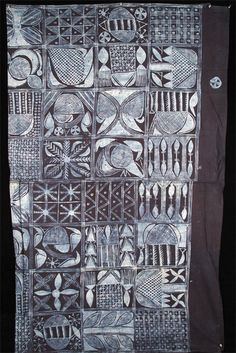 Africa | Adire Eleko Cloth from the Yoruba people of Nigeria | Cassava starch resist dye technique | ca. 1970