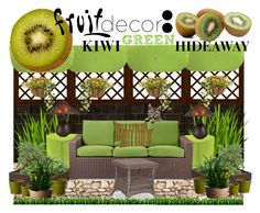 """""""Fruit Decor Contest Entry: Kiwi Green Hideaway"""" by michelle-miller-iii ❤ liked on Polyvore featuring interior, interiors, interior design, home, home decor, interior decorating, Home Decorators Collection, Jordan Manufacturing, Suncast and Threshold"""