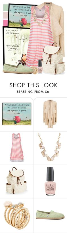 """Piglet - Winnie the Pooh"" by totallytrue ❤ liked on Polyvore featuring MANGO, Molly Bracken, Aéropostale, OPI, ALDO, TOMS, disney, disneybound, ShowUsYourDisneySide and DisneyColorByHammie"