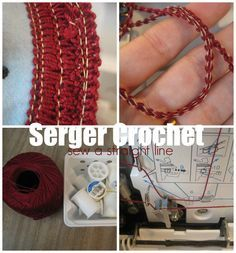 Use crochet thread in your serger to make trims or to add a decorative trim to edges of projects. from Sew a Straight Line by GreenPoodleCreations Serger Stitches, Serger Thread, Sewing Hacks, Sewing Tutorials, Sewing Tips, Sewing Ideas, Sewing Box, Sewing Patterns, Crochet Patterns