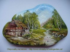 Painted Rock Old Barn.I woul Stone Art Painting, Rock Painting Designs, Pebble Painting, Pebble Art, Painted Rocks Craft, Hand Painted Rocks, Painted Stones, Stone Crafts, Rock Crafts