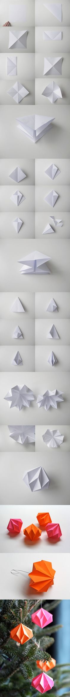 Diamantes de papel decorativos para Navidad / http://designoform.com/  /  http://howaboutorange.blogspot.com.es/                                                                                                                                                                                 Más