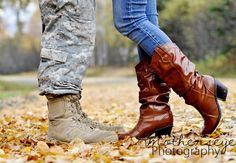 his boots and her boots...Sweet Military engagement pic