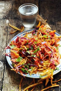 Colorful salad with fries