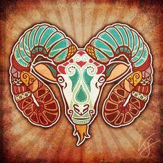 Aries ♈.Bohemian Aries zodiac art print. For in depth info on Aries personality & characteristics go to http://www.buildingbeautifulsouls.com/zodiac-signs/western-zodiac/aries-star-sign-traits-personality-characteristics/