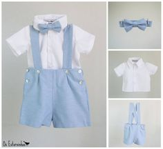 Boys outfit - Light blue light oxford cotton blend shortalls, bow tie and white shirt - set - Various colors available Baby Boy Outfits, Kids Outfits, Wedding Pants, Baby Couture, Sailor Dress, Oxford, Costume, Swagg, Outfit Sets