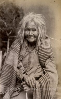 """""""Oldest woman on Mescalero Apache Reservation"""", New Mexico, 1886 - 1888. Photographer: J.R. Riddle"""