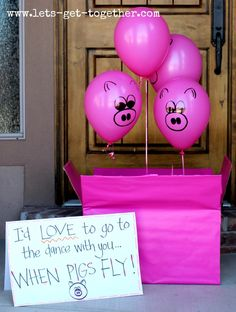 Answering to Dances: When Pigs Fly-this post includes 3 great ideas for asking and answering to dances! So cute! www.lets-get-together.com #highschool #prom