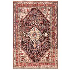 Antique Persian Tribal Qashqai Rug | From a unique collection of antique and modern persian rugs at https://www.1stdibs.com/furniture/rugs-carpets/persian-rugs/