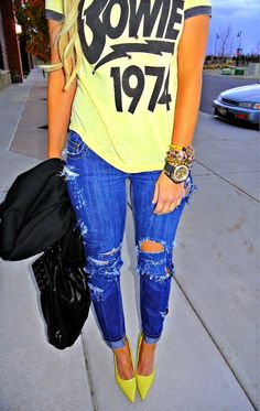 graphic tees & distressed jeans & statement gems & HEELS: Love this except for the heels, would want chunky ankle boots or some nice bright canvas daps.