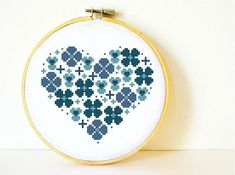 Counted Cross stitch Pattern PDF. Instant download. Flowers Heart in Blue. Includes easy beginner instructions.