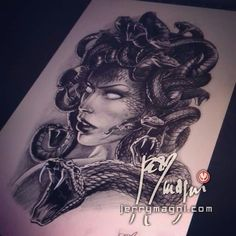 Ultimatley want this tattoo it is my all time favorite medusa drawing in grey wash.
