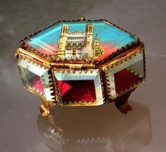 french antique1900s jewelry box BEVELED GLASS Oval Casket display vitrine crystal Hexagonal six side jewelry box case cathedral Lyon