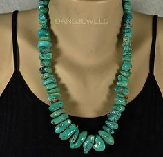 Old-Vintage-Navajo-Santo-Domingo-TURQUOISE-Green-Nugget-23-034-Sterling-Necklace