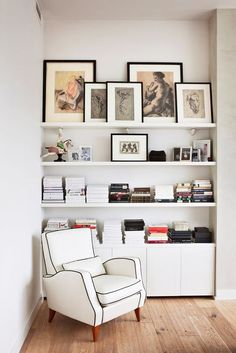 black and white decor with built-in white bookcase / sfgirlbybay