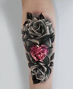 Thigh flower tattoo skull