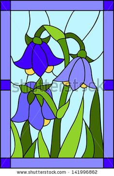 Vector floral composition with bells / stained glass window, door and ceiling Stained Glass Quilt, Stained Glass Flowers, Faux Stained Glass, Stained Glass Designs, Stained Glass Projects, Stained Glass Patterns, Stained Glass Windows, Glass Painting Patterns, Glass Painting Designs
